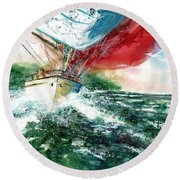 Sailing On The Breeze Round Beach Towel