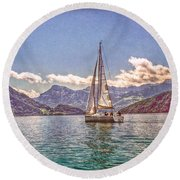 Sailing On The Lake Round Beach Towel