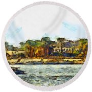 Sailing On The Nile Round Beach Towel