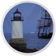 Sailing Out For The Red Moon Round Beach Towel