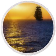 Sailing Out Of The Fog At Sunrise Round Beach Towel