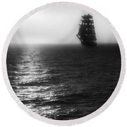 Sailing Out Of The Fog - Black And White Round Beach Towel by Jason Politte