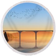 Sailing Out To Sea... Round Beach Towel