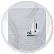 Sailing  Poster Round Beach Towel