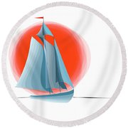 Sailing Red Sun Round Beach Towel