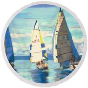 Sailing Regatta At Port Hardy Round Beach Towel