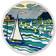 Sailing School Manchester By-the-sea Round Beach Towel