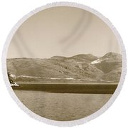 Sailing Ship In The Adriatic Islands In Sepia Round Beach Towel