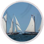 Sailing Ship In The Ocean At Gloucester Round Beach Towel