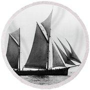 Sailing Ship Ketch, 1876 Round Beach Towel