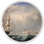 Sailing Ships Off The New England Coast Round Beach Towel