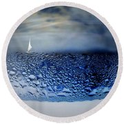 Sailing The Liquid Blue Round Beach Towel