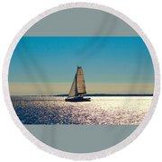 Sailing The Ocean Blue Round Beach Towel