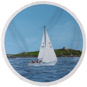 Sailing Through Dalkey Sound Round Beach Towel
