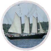 Sailing Through History Round Beach Towel
