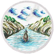 Sailing Through Round Beach Towel