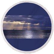 Sailing Through The Sun Rays 2. Round Beach Towel