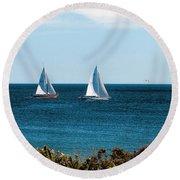 Sailing Watch Hill Ri Round Beach Towel