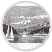 Sailing Mount Hood Oregon Round Beach Towel
