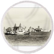 Sailing Up The Mersey Round Beach Towel