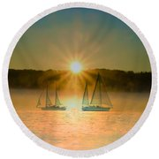 Sailing When The Sun Comes Up Round Beach Towel