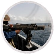 Sailor Fires A M240b Machine Gun Aboard Round Beach Towel
