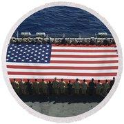 Sailors And Marines Display Round Beach Towel by Stocktrek Images