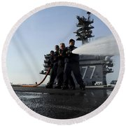 Sailors Conduct Hose Team Training Round Beach Towel