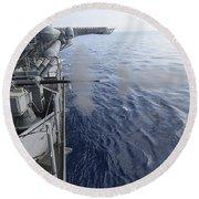 Sailors Fire A 25mm Machine Gun Aboard Round Beach Towel