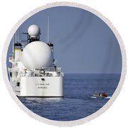 Sailors In A Rigid-hull Inflatable Round Beach Towel