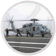 Sailors Leave The Landing Area Of An Round Beach Towel