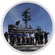 Sailors Participate In A Fight Deck Round Beach Towel