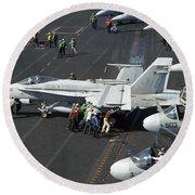 Sailors Push An Fa-18c Hornet Round Beach Towel