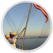 Sailors Salute The National Ensign Round Beach Towel