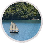 Sails In The Wind Round Beach Towel