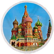 Saint Basil Cathedral In Red Square In Moscow- Russia Round Beach Towel