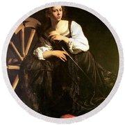 Saint Catherine Of Alexandria Round Beach Towel by Caravaggio