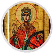 Saint Catherine Of Alexandria Icon Round Beach Towel