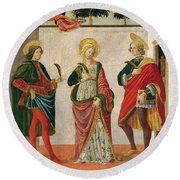 Saint Cecilia Between Saint Valerian And Saint Tiburtius With A Donor Round Beach Towel