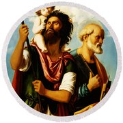 Saint Christopher With Saint Peter Round Beach Towel