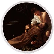 Saint Francis Of Assisi In Ecstasy 2 Round Beach Towel by Caravaggio