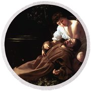 Saint Francis Of Assisi In Ecstasy Round Beach Towel