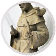 Saint Francis Of Assisi Statue With Birds Round Beach Towel
