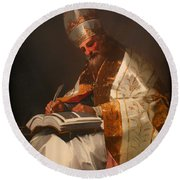 Saint Gregory The Pope Round Beach Towel