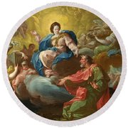 Saint James Being Visited By The Virgin Round Beach Towel