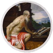 Saint Jerome In The Wilderness Round Beach Towel