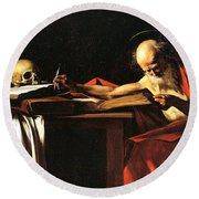 Saint Jerome Writing Round Beach Towel