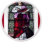 Saint John The Evangelist Stained Glass Window Round Beach Towel