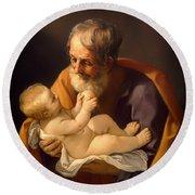 Saint Joseph And The Christ Child Round Beach Towel
