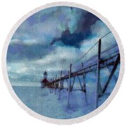 Saint Joseph Pier Lighthouse In Winter Round Beach Towel by Dan Sproul